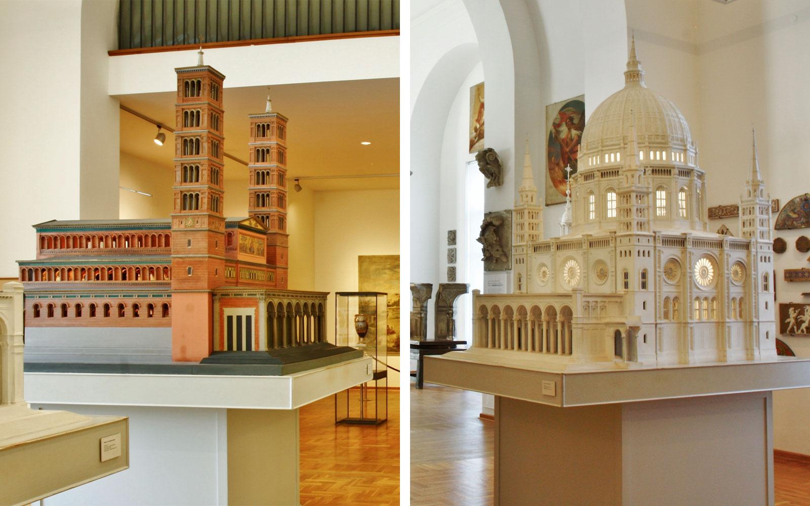 Abb. 9 und 10: Modelle im Dom-Museum, Basilika, Friedrich August Stüler 1843 und Zentralbau, Friedrich August Stüler, 1859, (Fotos: Rüdiger Hoth)