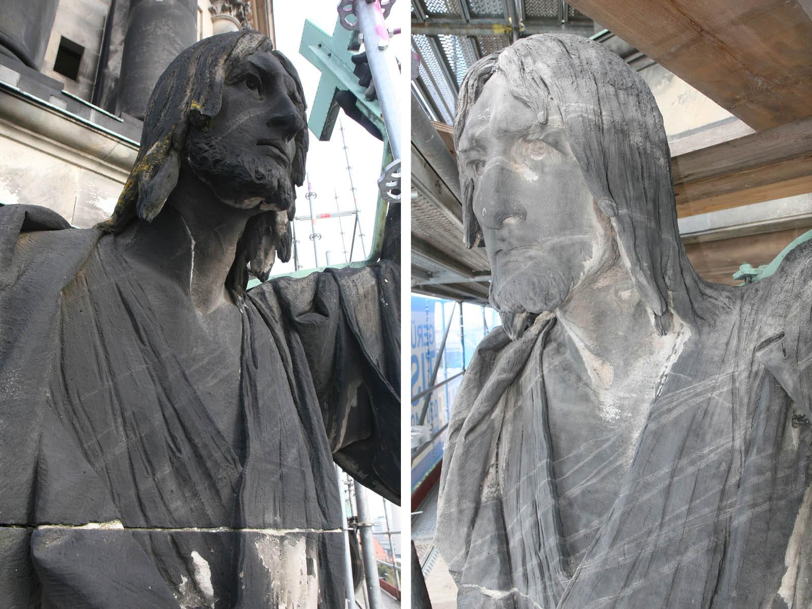 Apostel Jakobus vor und nach der Restaurierung 2020 (Fotos: Sonja Tubbesing)