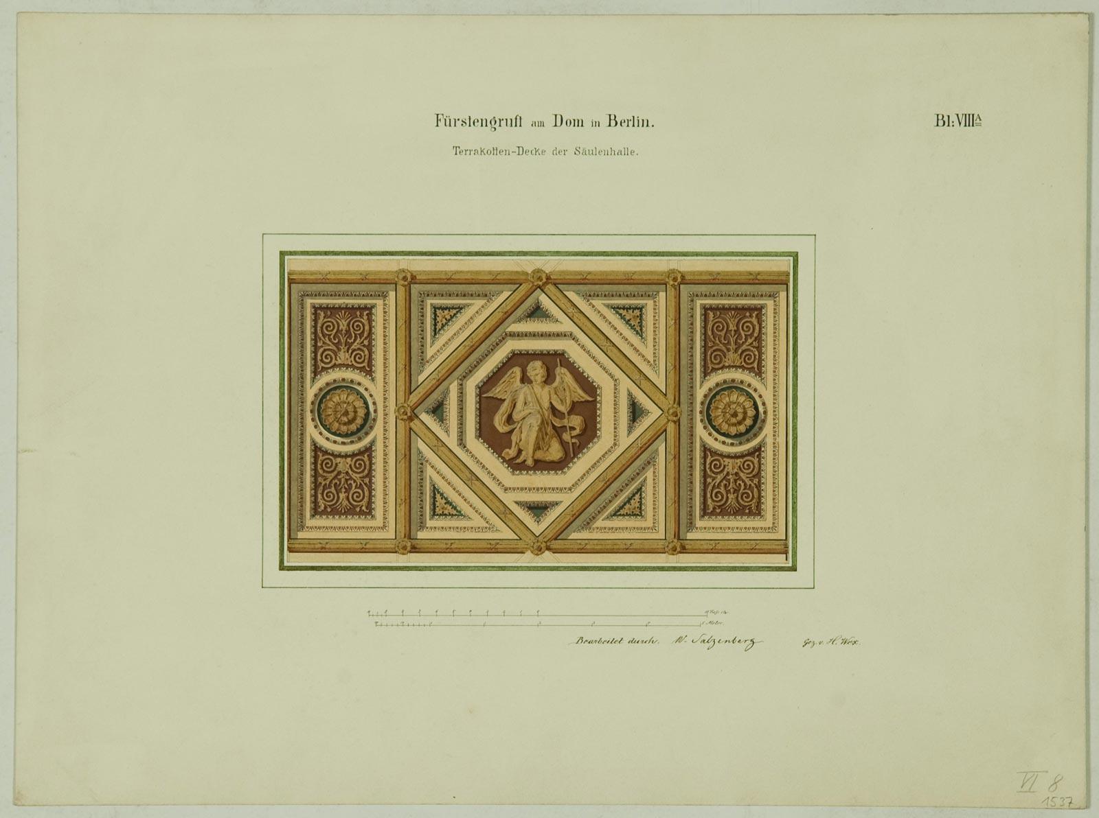Erstes Stülerprojekt für einen Domneubau, Terrakottendecke der Säulenhalle der Fürstengruft, um 1848 (Bestand 18, Nr.1537).
