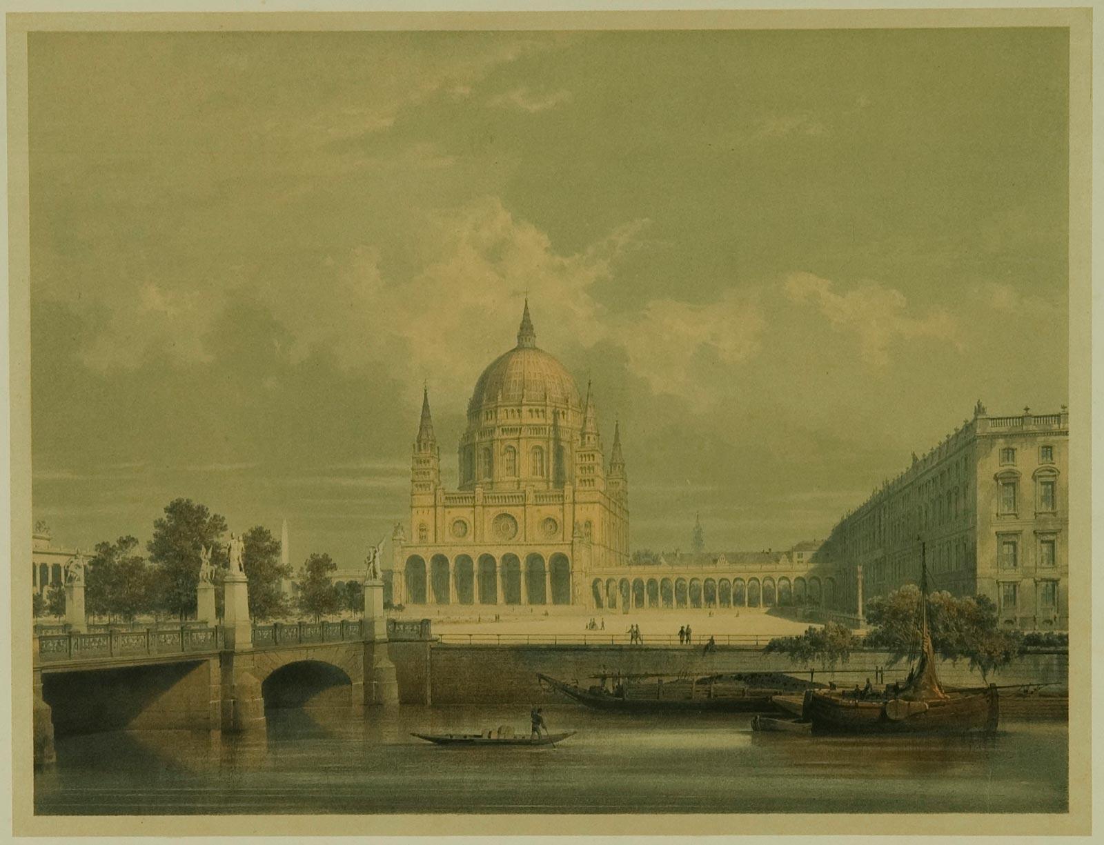 Zweites Projekt Stülers (Zentralbau) für einen Domneubau, perspektivische Ansicht von West, 1857 (Bestand 18, Nr.1262).