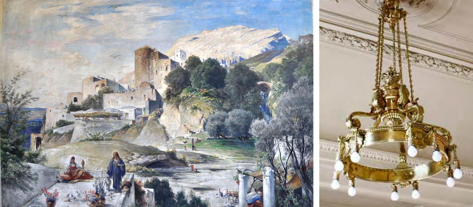 """Gemälde """"Nazareth"""" und 10-flammige Deckenkrone aus dem Kaiserlichen Treppenhaus"""