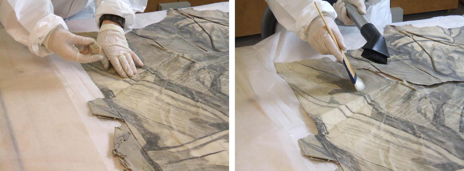 Reinigung mit Latexschwamm, anschließend absaugen des Staubes und der Radierkrümel. Fragment des Kartons zum Deckenmosaik des Lucas (Fotos: Silke Schröder)
