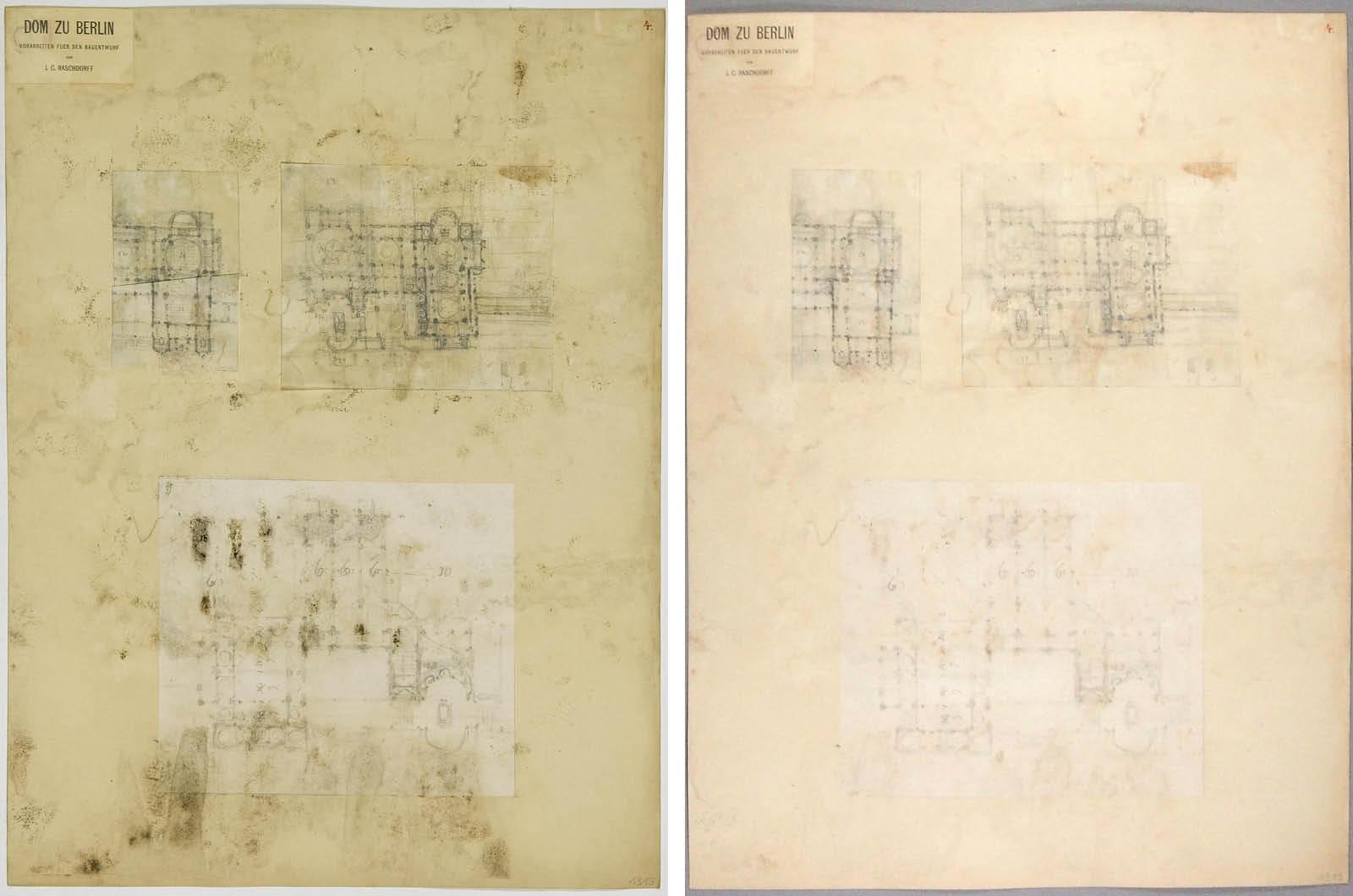 Collage vor und nach der Restaurierung (Fotos: Holger Herschel/Silke Schröder)