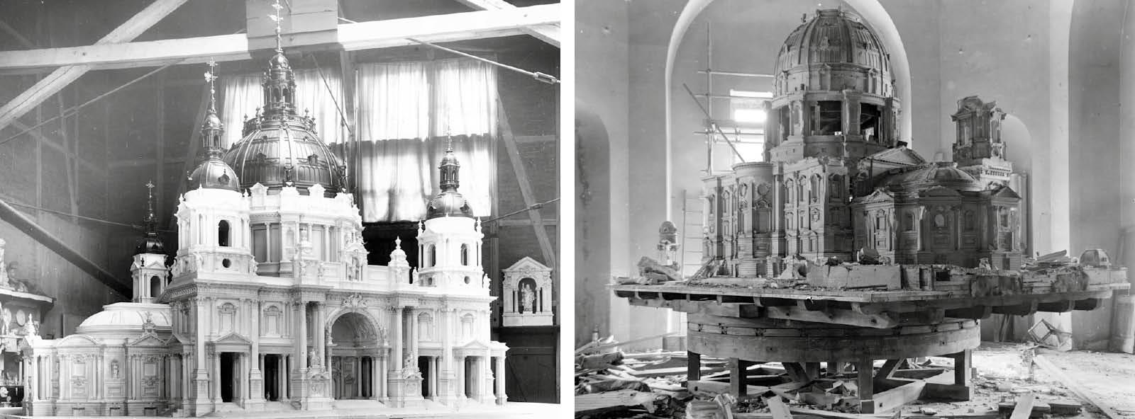 Gipsmodell des Doms um 1890 und Zustand 1977