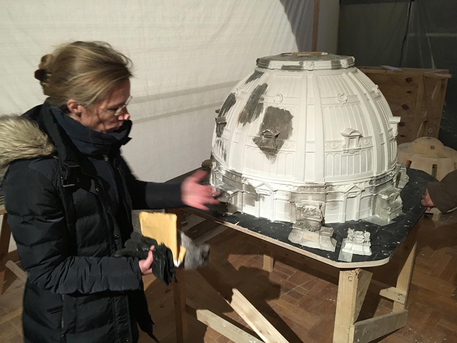 Gipsmodell, Wiederherstellung der Kuppel 2018