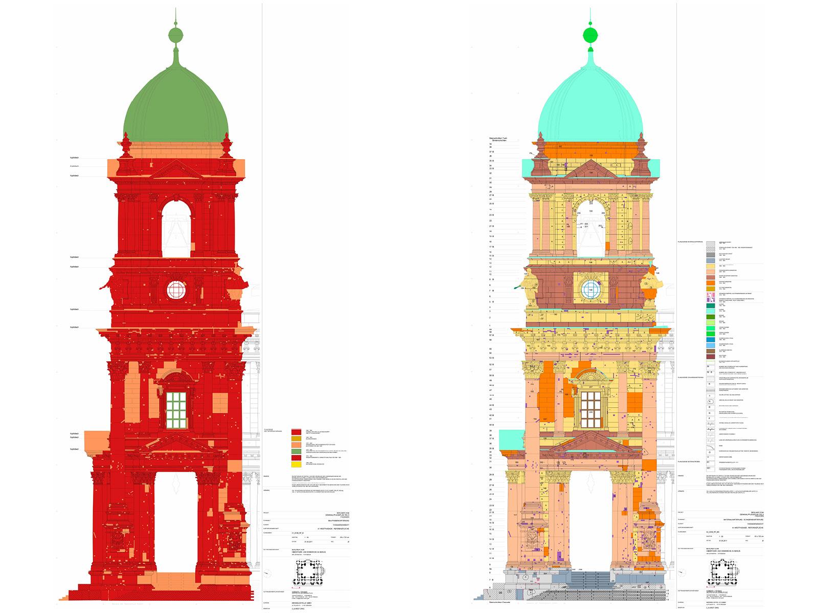 Abb. 1 u. 2: Bauphasenkartierung Turm C (links), Schadenskartierung Turm C (rechts), Hübner + Oehmig • Architektur und Denkmalpflege
