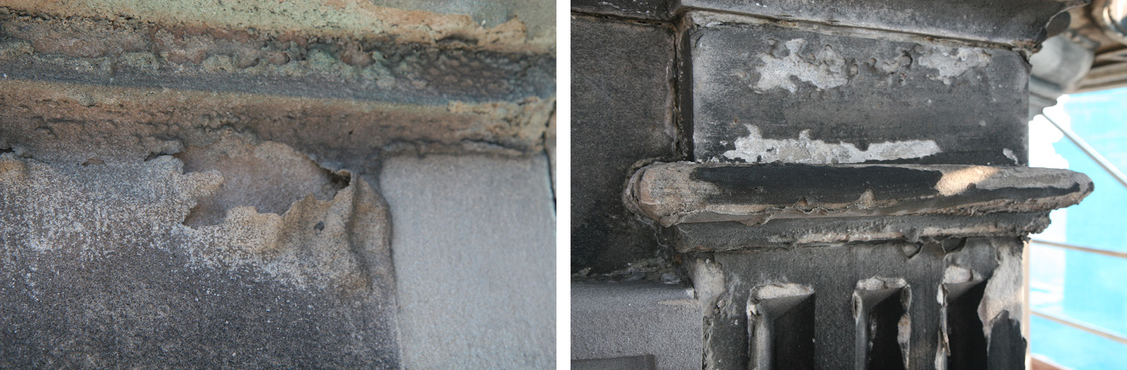 Abb. 3 u 4: Absandende (links) und abschalende (rechts) Oberflächen