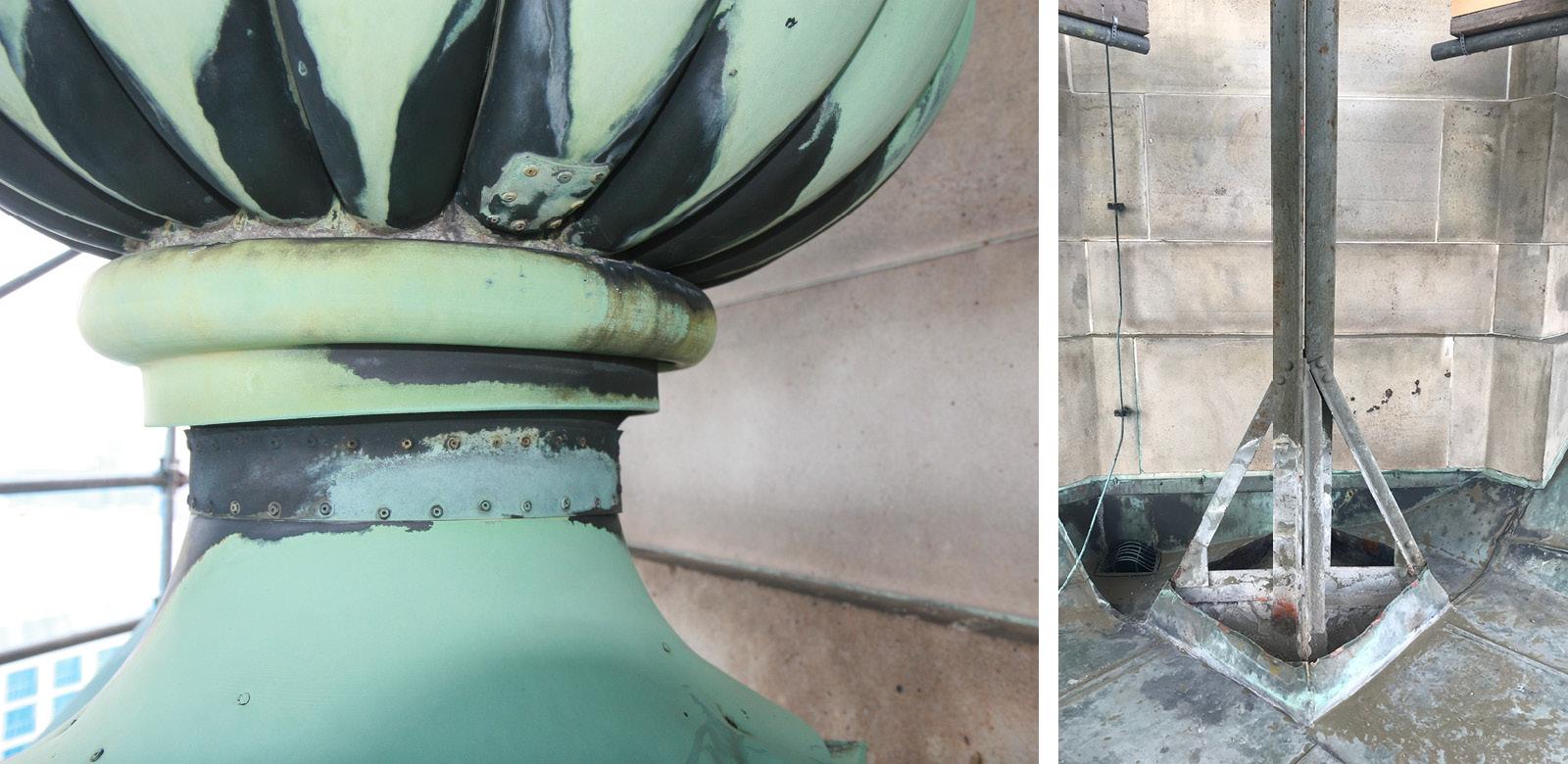 Links: Schäden an der Kupfer-Oberfläche, 2021; Rechts: Unterkonstruktion, 2021