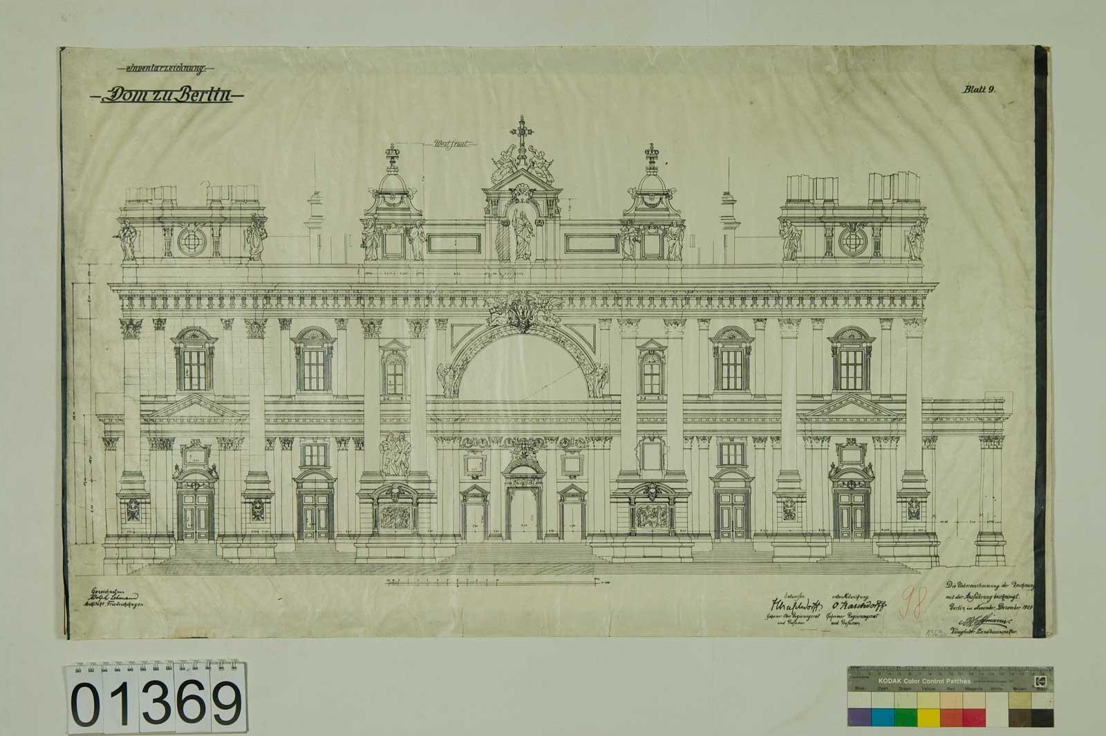 Blatt 1369: Dom zu Berlin, Inventarzeichnung, Westfront, 1909