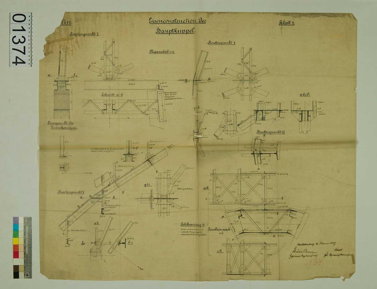 Blatt 1374: Dom zu Berlin, Eisenkonstruktion der Hauptkuppel, 1897 (Foto: Domarchiv)