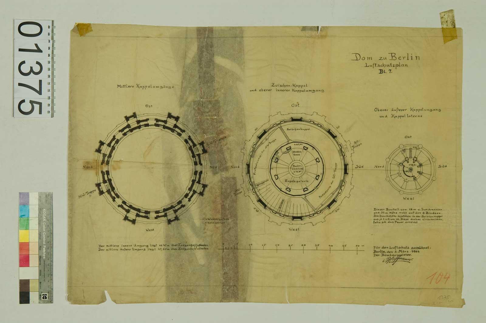 Blatt 1375: Dom zu Berlin, Luftschutzplan, März 1944 (Foto: Domarchiv)