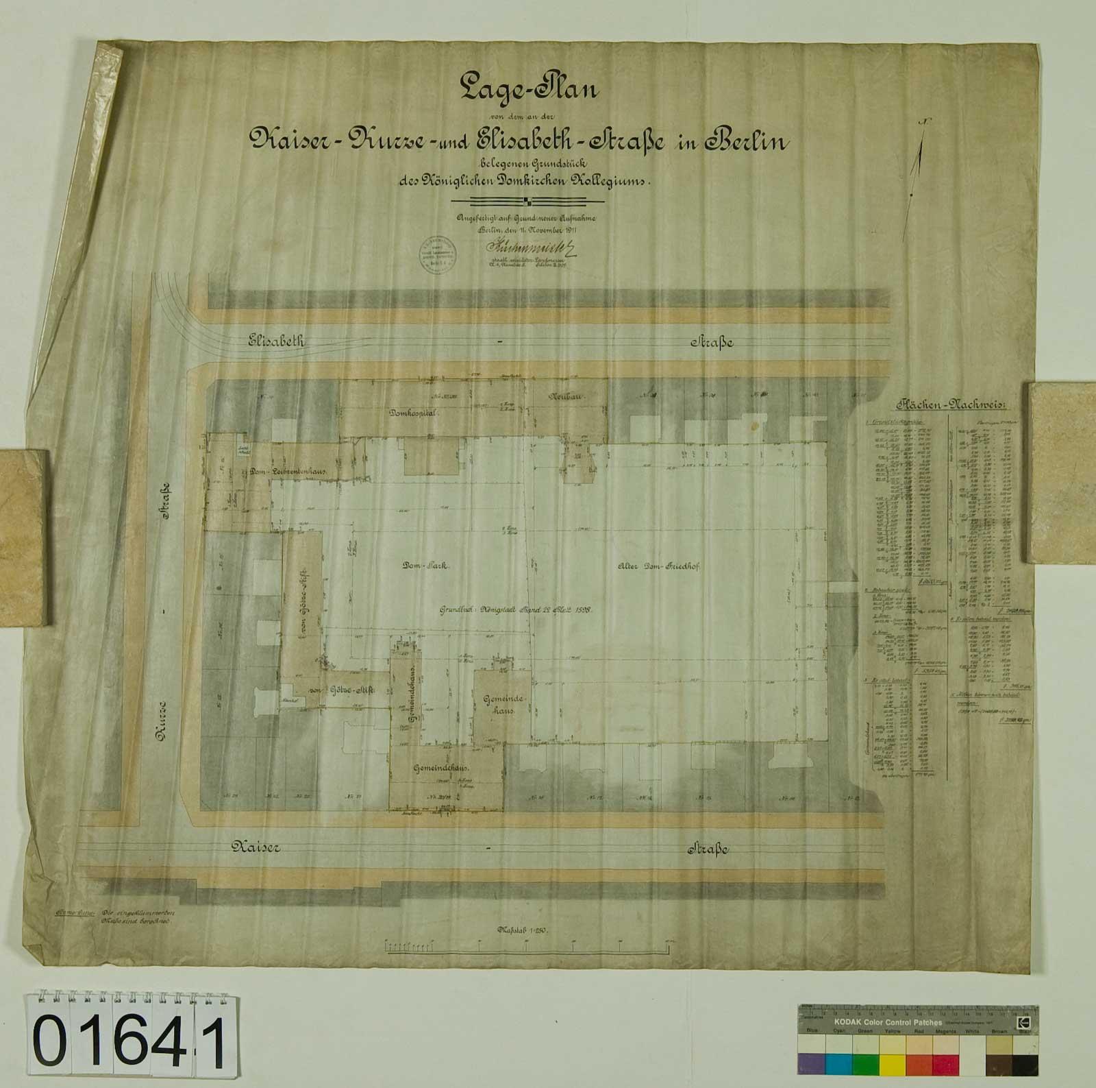 Blatt 1641: Lageplan einiger Grundstücke des Königlichen Domkirchen Kollegiums, 1911 (Foto: Domarchiv)